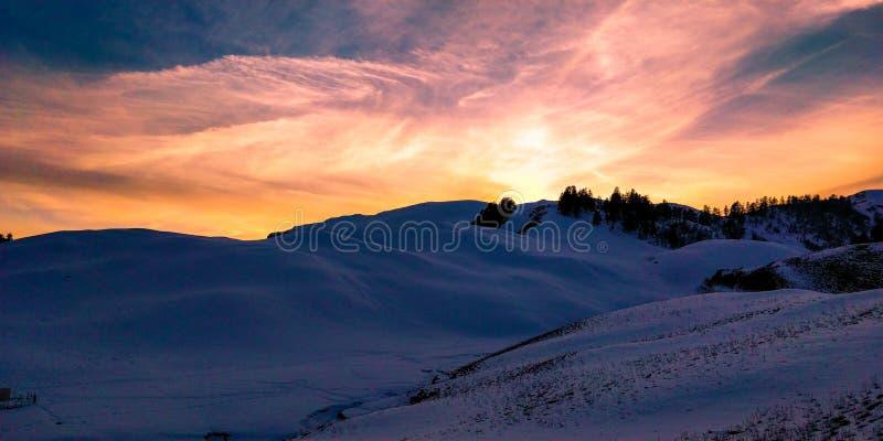 White Snowy Desert during Sunset stock photography