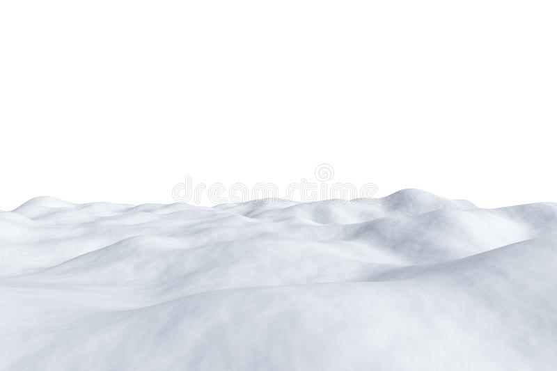 White snowy field isolated on white. White snowy field with hills and smooth snow surface isolated on white background, winter arctic minimalist 3d illustration royalty free illustration