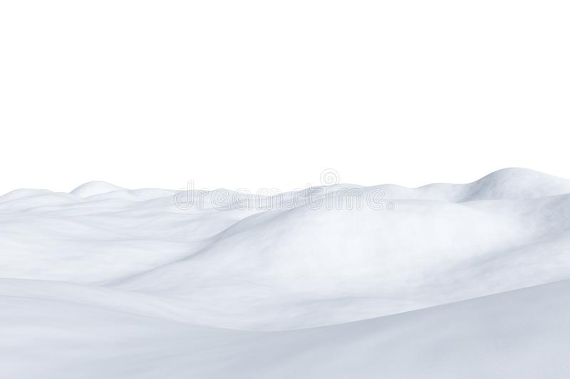 White snowy field isolated on white. White snowy field with hills and smooth snow surface isolated on white background, winter arctic minimalist 3d illustration vector illustration