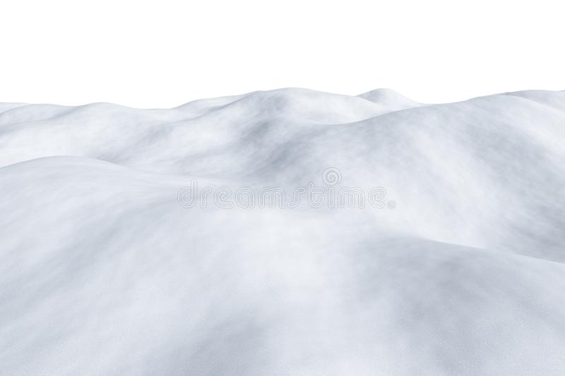 White snowy field, isolated on white. White snowy field with hills and smooth snow surface isolated winter arctic minimalist 3d illustration royalty free illustration