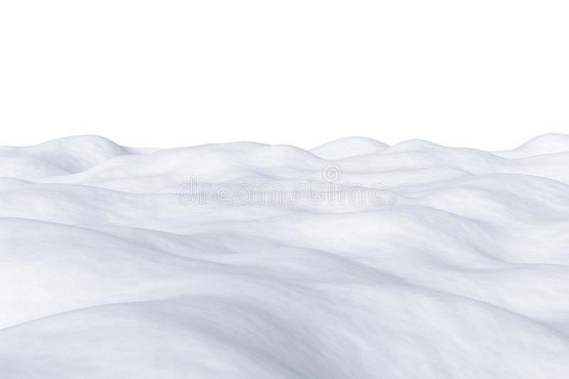 White snowy field isolated. White snowy field with hills and smooth snow surface isolated on white winter arctic minimalist 3d illustration vector illustration