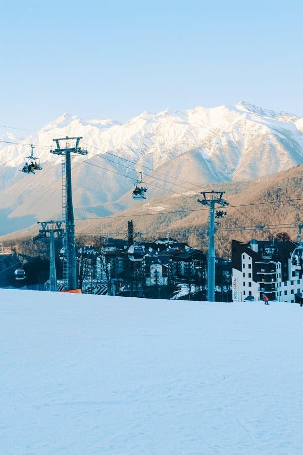 Snowy mountain  peaks of Sochi royalty free stock photo