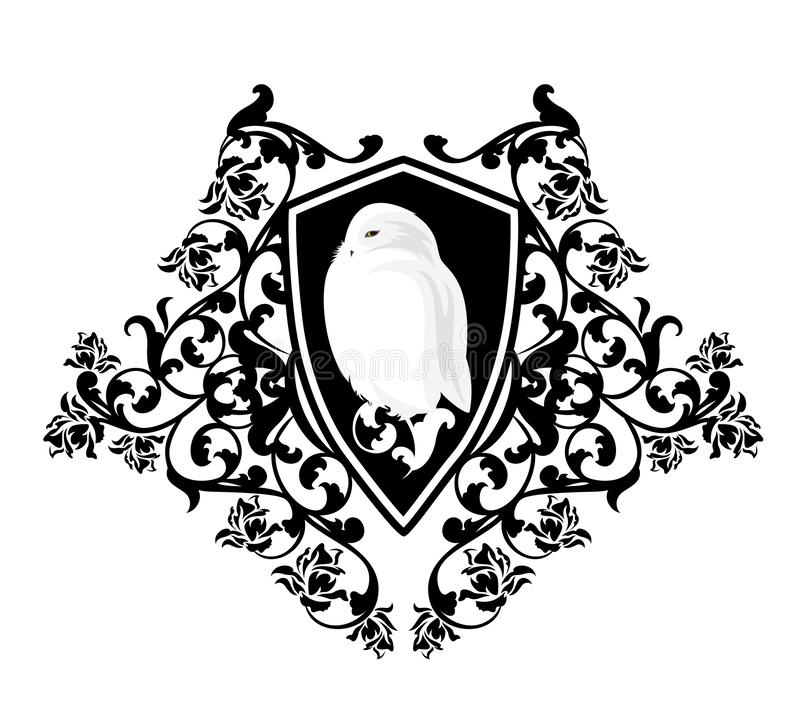 White snowy owl bird and rose flowers heraldic shield vector design. White snowy owl bird in antique heraldic shield among rose flowers - wisdom concept coat of stock illustration