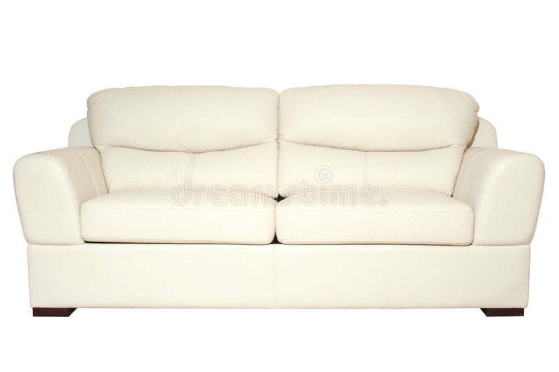White sofa. Sofa white detail isolated on black background with path