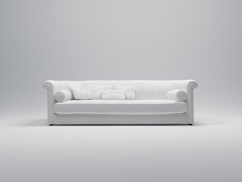 White sofa. 3D rendering of a luxurious comfortable looking white sofa royalty free illustration