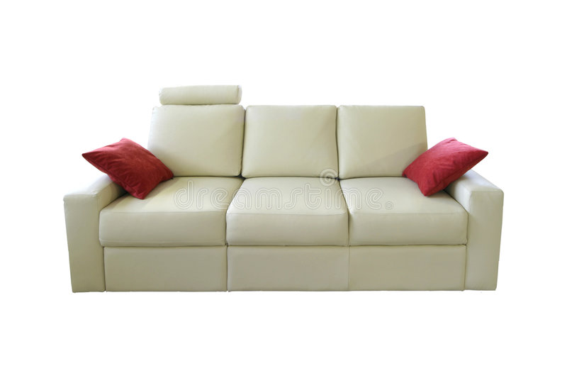 White sofa. White leather sofa on white background