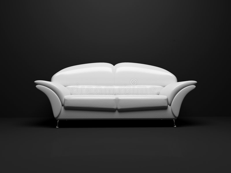 White sofa on black background insulated. 3d royalty free stock image