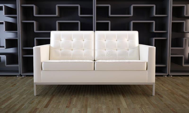 White sofa and black bookcase vector illustration