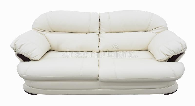 White eco leather sofa. Soft snow white couch with coach-type screed capitone. Classic divan on isolated background. White sofa with blue. Soft snow white couch stock photos