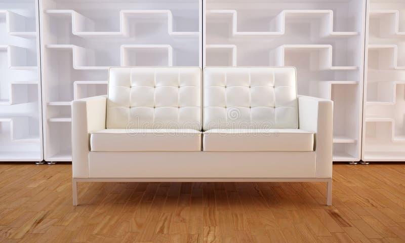 White sofa and bookcase royalty free illustration