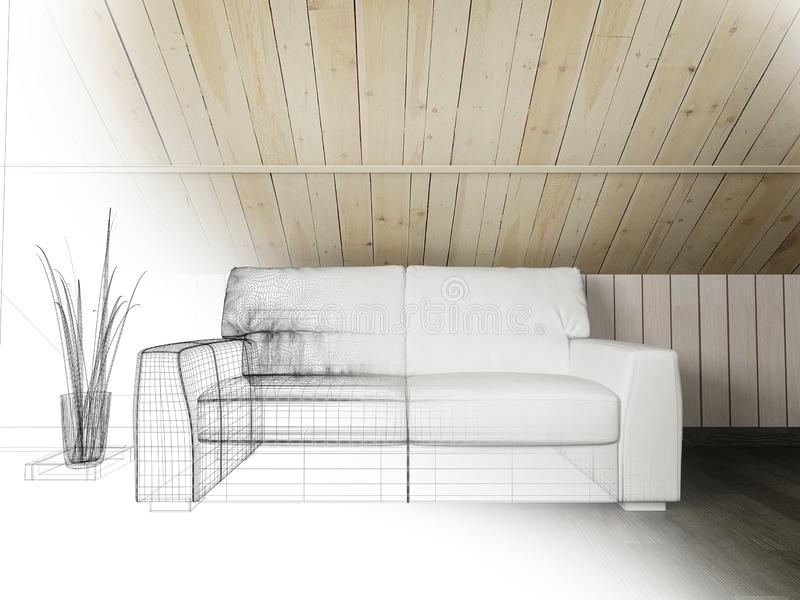 White sofa on dark flooring and wooden wall ,3d rendering royalty free illustration