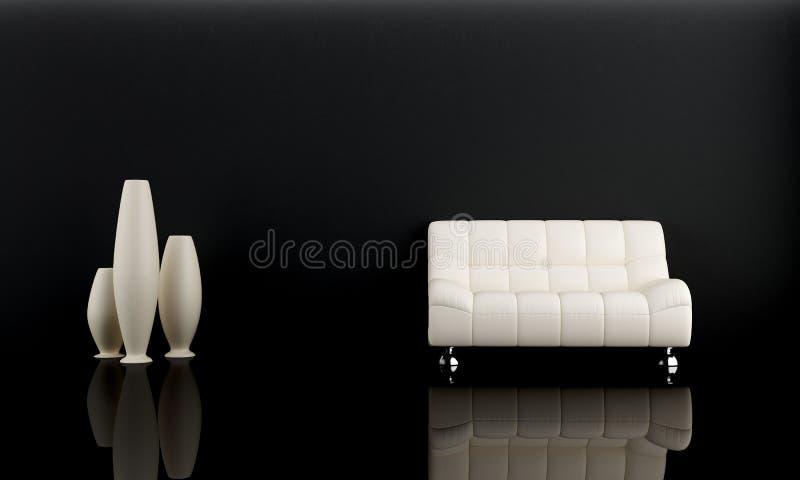 White sofa in dark room vector illustration