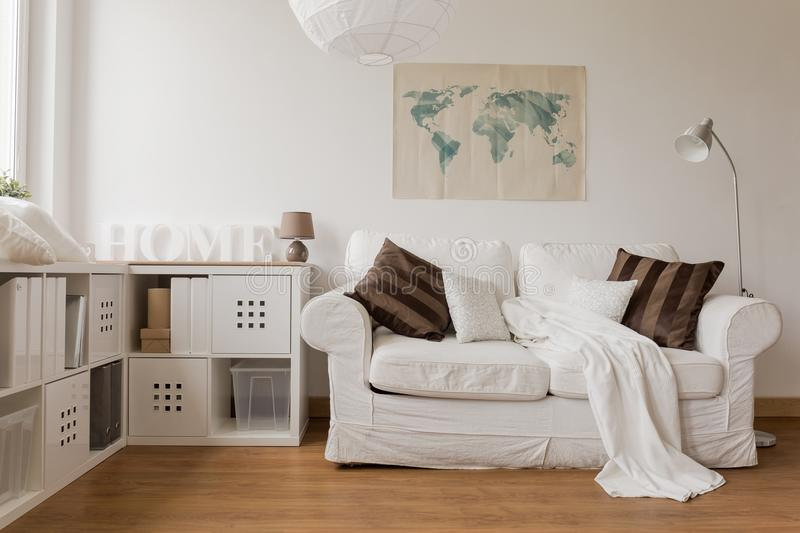 White sofa in living room royalty free stock image