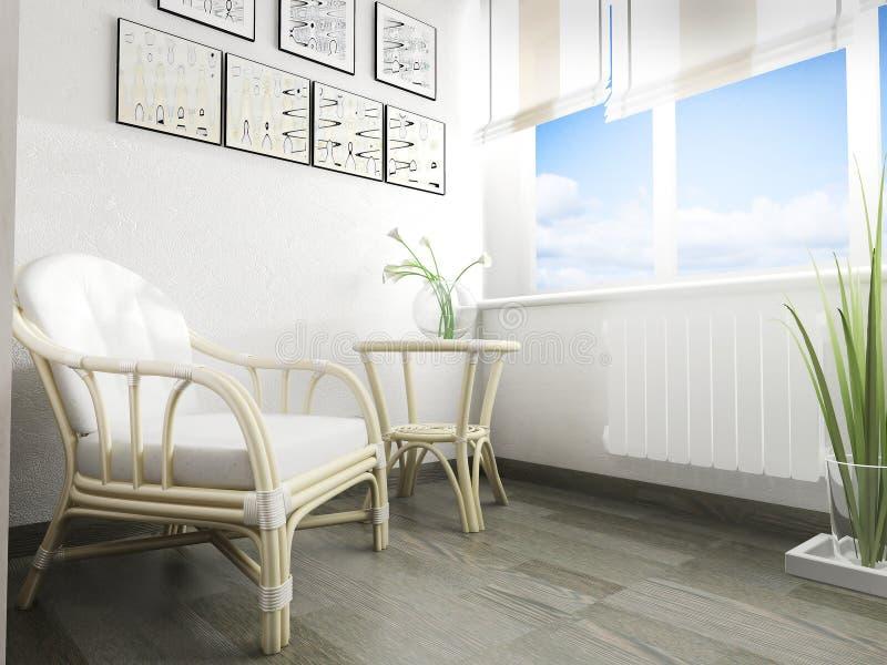 White sofa in modern interior, 3 d rendering vector illustration