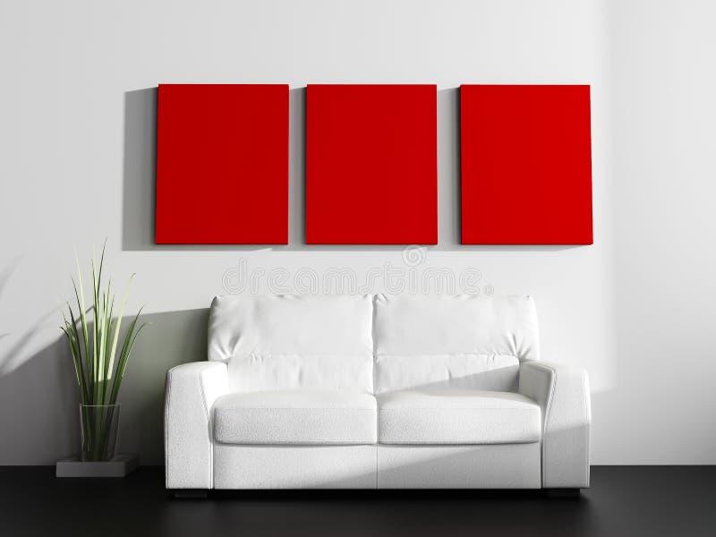 White sofa in modern interior vector illustration