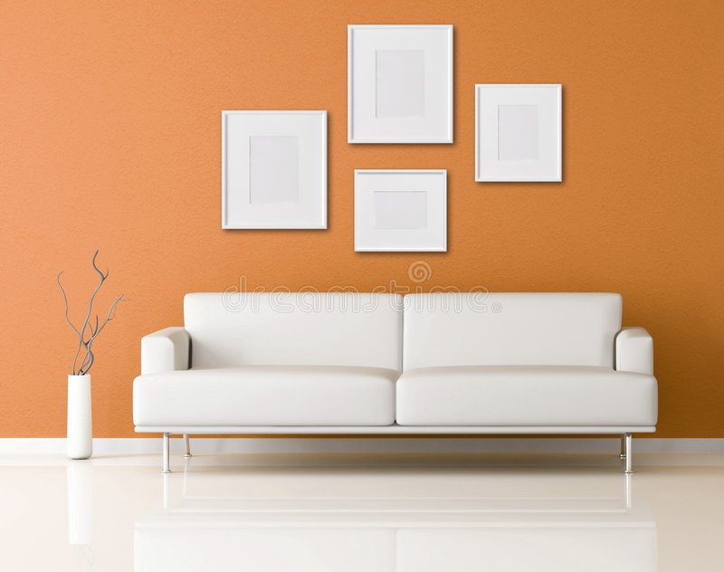 Download White Sofa In A Orange Living Room Stock Illustration   Image:  9317453 Part 69