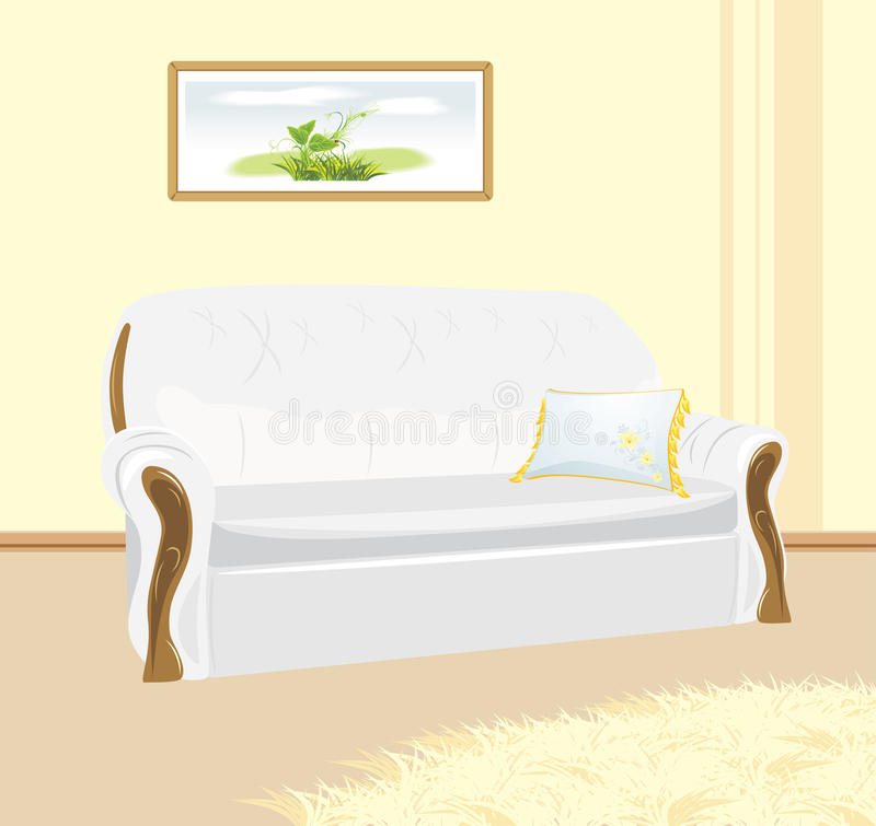 Download White Sofa With Pillow. Fragment Of Living Room Stock Vector - Image: 19313248