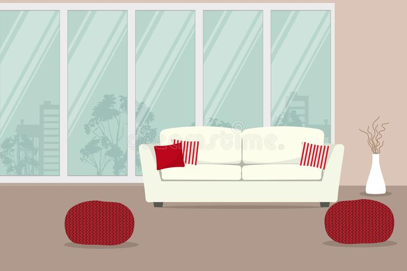 White sofa with red pillows on a window background. There are also red knitted chairs and a vase with decorative branches in the picture. Vector illustration vector illustration