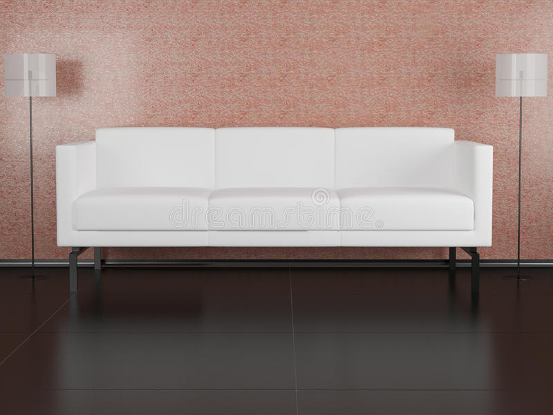 Download White sofa in the room stock illustration. Illustration of fashion - 14850722