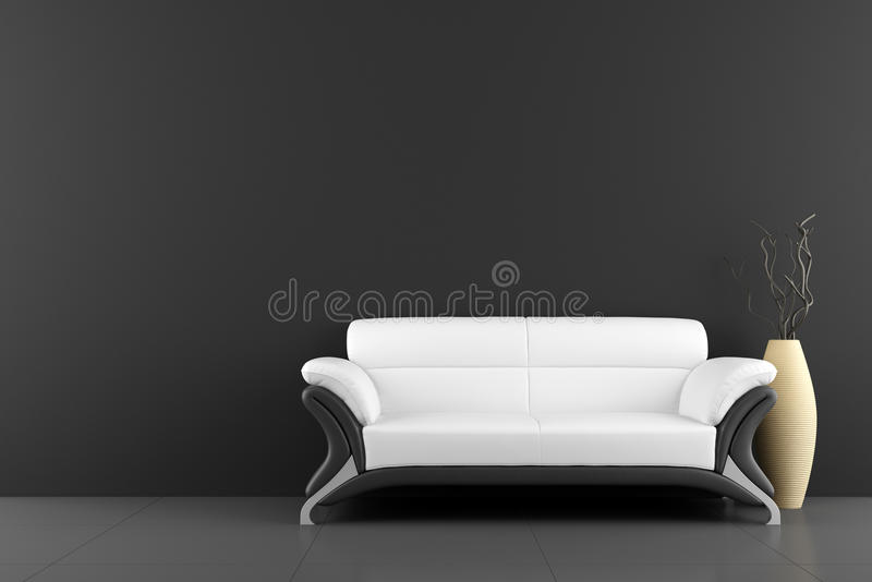 White sofa and vase with dry wood royalty free illustration