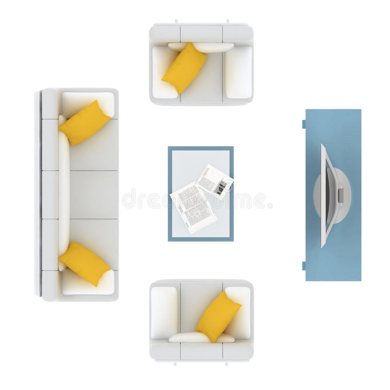 White sofa with yellow cushion and tv set plan design elements. 3D illustration royalty free illustration