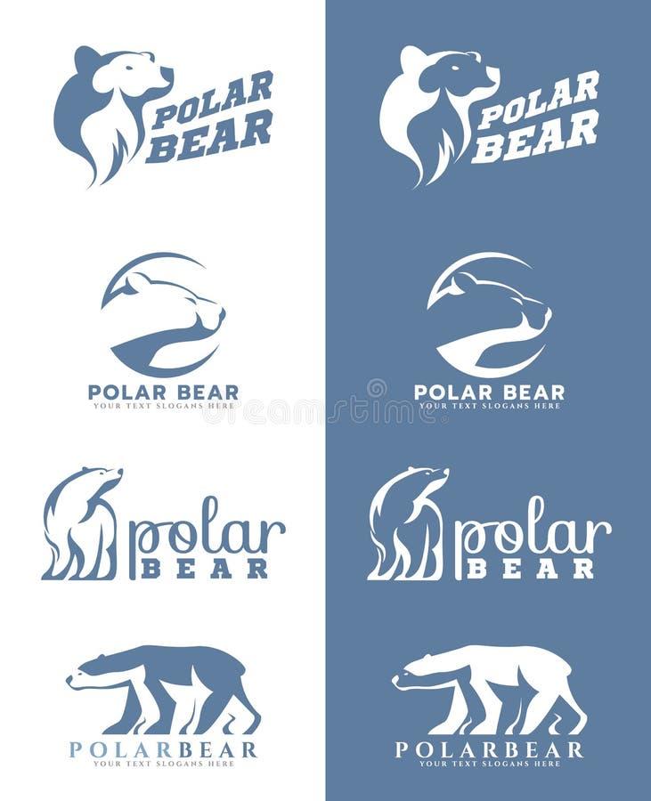 white and soft blue polar bear logo vector art design stock vector