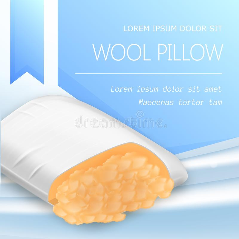 White Soft Pillow with Wool Filling Cross Section. View, Hypo Allergenic Cushion, Natural Product Perfect for Sleep and Relaxation, Advertising Flyer Realistic royalty free illustration