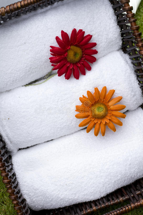 White spa bathroom towels royalty free stock image