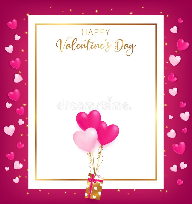 White space board with gold border and happy valentine`s day text. Golden heart glitter drop beside board ,balloons tie to gift box, artwork usage in stock illustration