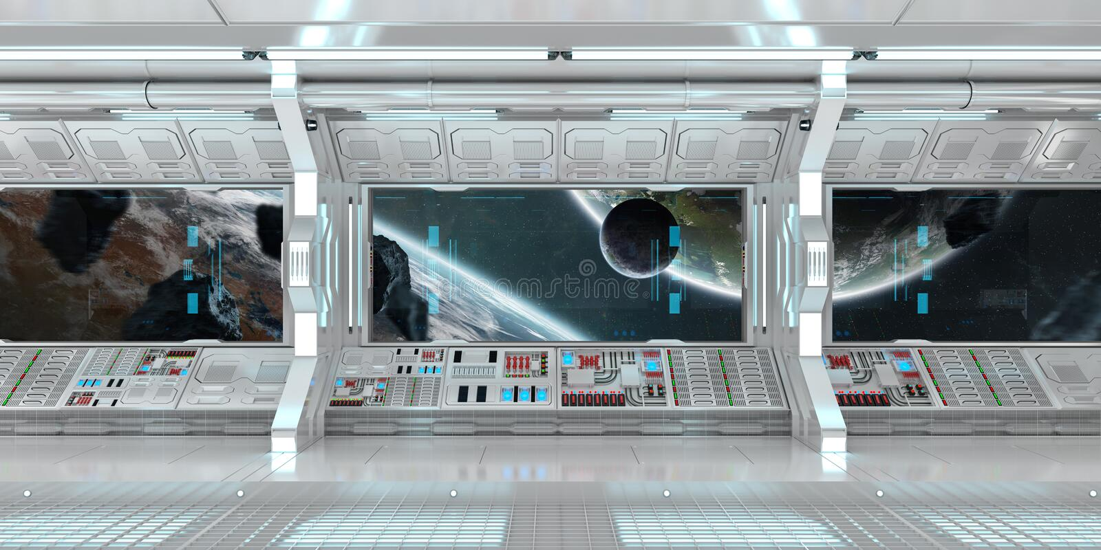 White spaceship interior with large window view 3D rendering stock illustration