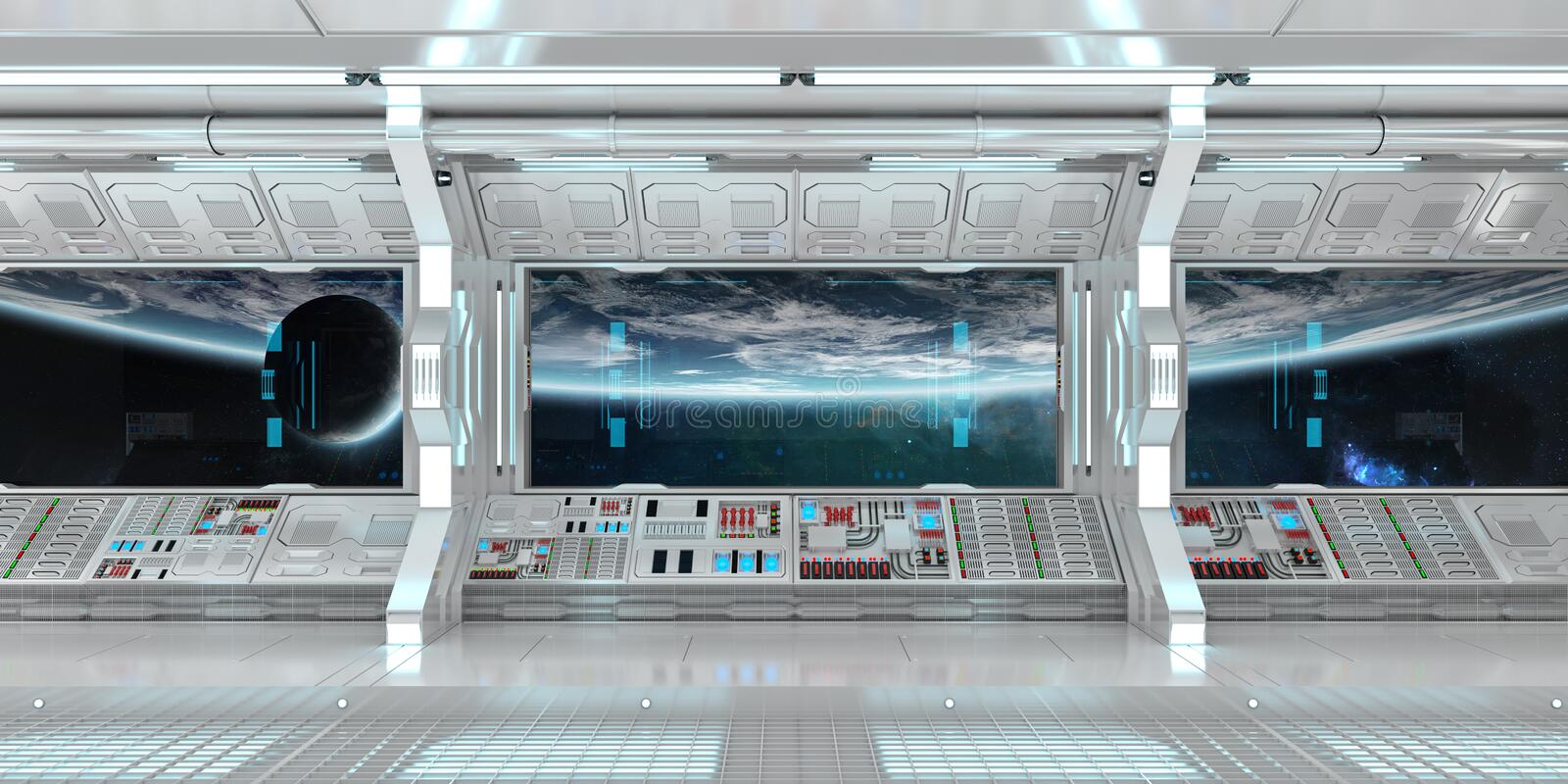 White spaceship interior with large window view 3D rendering royalty free illustration