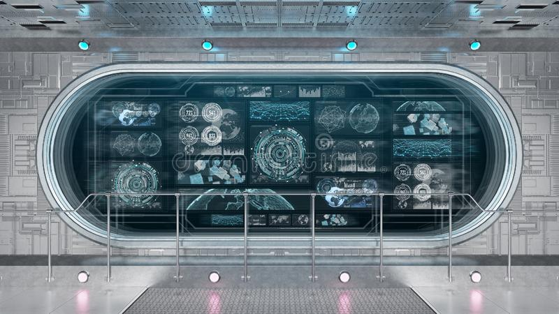 White spaceship interior with control panel digital screens 3D rendering royalty free illustration