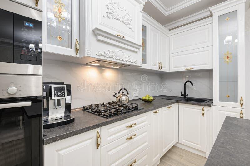 White Luxury Modern Kitchen With Island Stock Photo Image Of