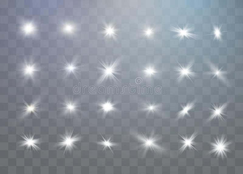 White sparks glitter special light effect. Vector sparkles on transparent background. Christmas abstract pattern. stock illustration