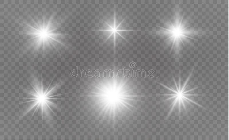 White sparks glitter special light effect. Vector sparkles on transparent background. Christmas abstract pattern. Sparkling magic dust particles royalty free illustration