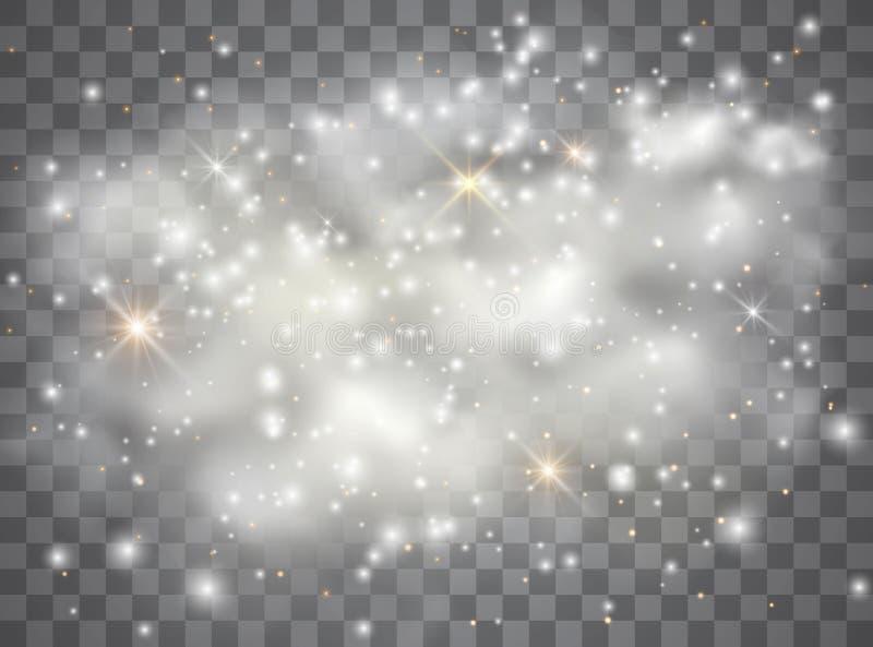 White sparks glitter special light effect. Vector sparkles on transparent background. Sparkling magic dust particles. White sparks glitter special light effect stock illustration