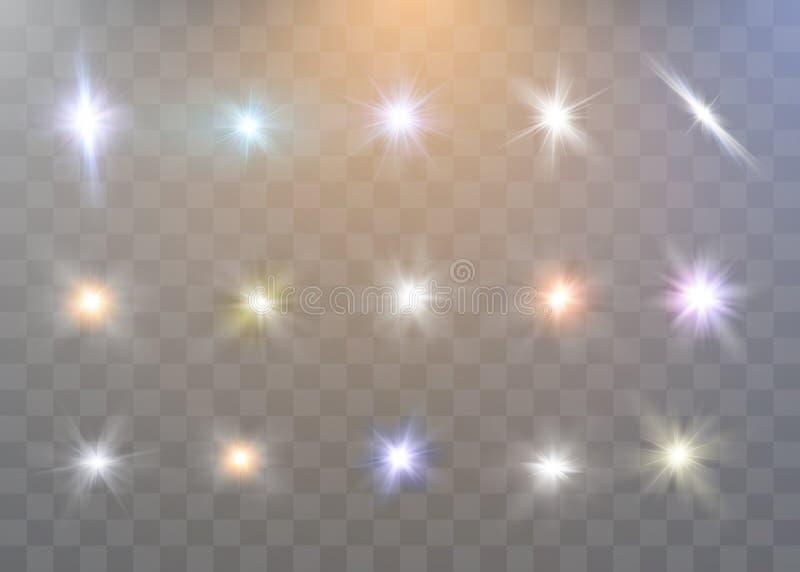 White sparks glitter special light effect. Vector sparkles on transparent background. vector illustration