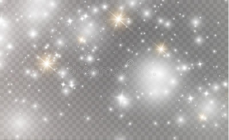 White sparks and golden stars glitter special light effect. Vector sparkles on transparent background. Christmas. Abstract pattern. Sparkling magic dust vector illustration