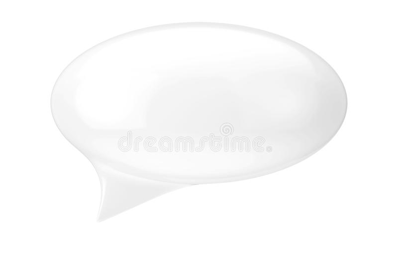 White Speech Bubble with Blank Space for Yours Sign. 3d Rendering. White Speech Bubble with Blank Space for Yours Sign on a white background. 3d Rendering royalty free illustration