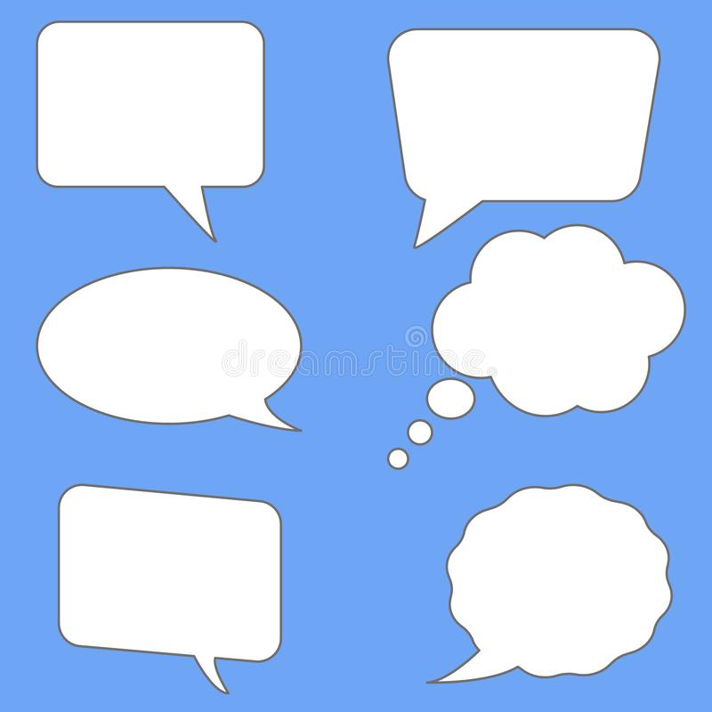 White speech bubbles on blue background. flat style. blank empty speech bubbles for your text. set speech bubbles symbol royalty free illustration
