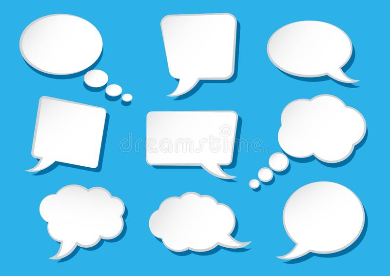 White speech bubbles collection on blue background. Vector illustration royalty free illustration