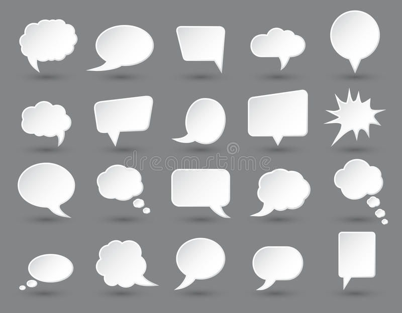 White speech bubbles set with shades on dark gray background. vector illustration