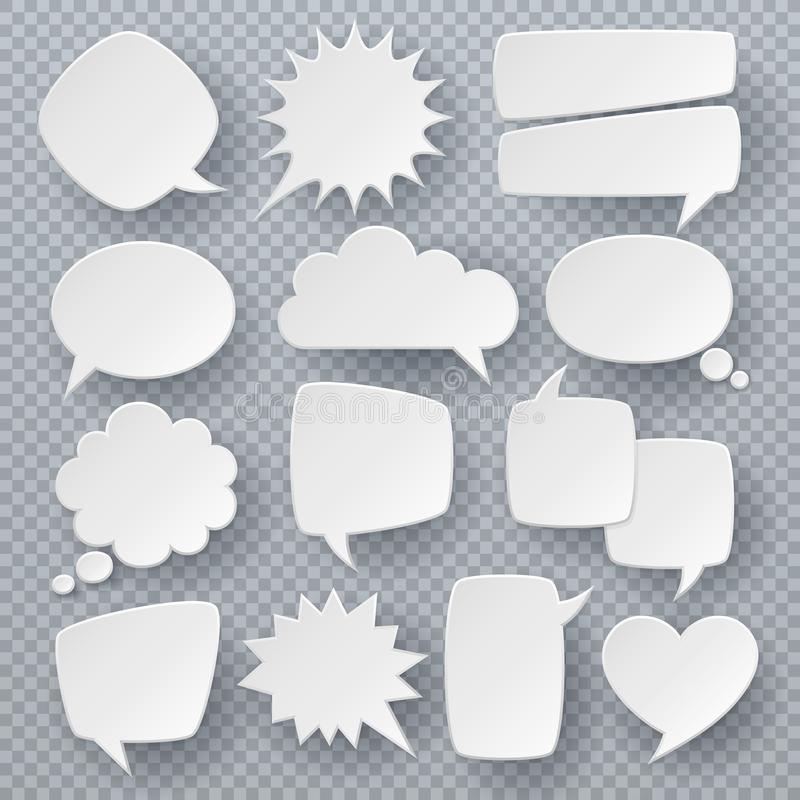 Free White Speech Bubbles. Thought Text Bubble Symbols, Origami Bubbly Speech Shapes. Retro Comic Dialog Clouds Vector Set Royalty Free Stock Image - 134503936