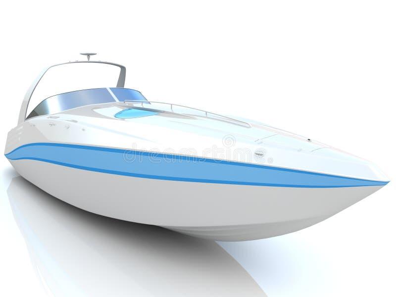 White speedboat isolated. On a white background stock illustration