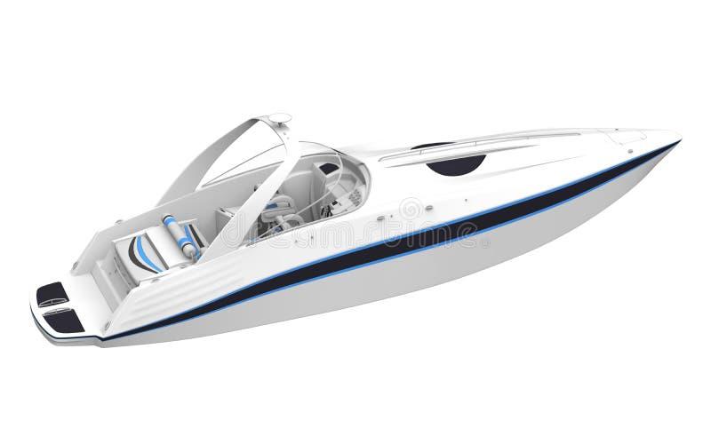 White Speedboat Isolated on White Background. 3D render royalty free illustration