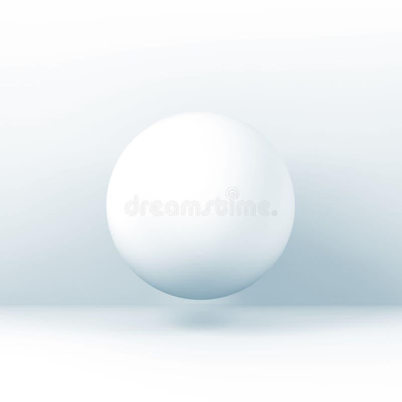 White sphere object, blue toned square 3d vector illustration