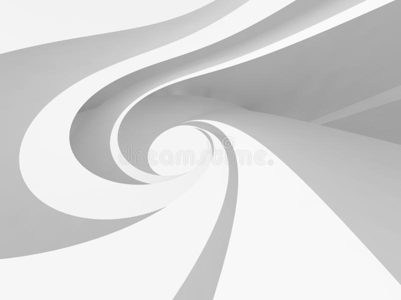 White spiral architectural background 3d stock illustration