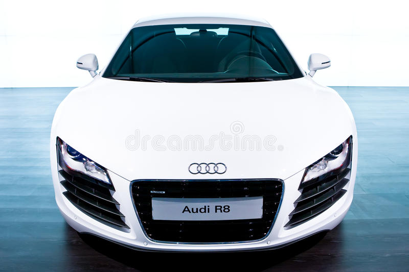 White sport car Audi R8. MOSCOW, RUSSIA - AUGUST 27: White sport car Audi R8 at Moscow International exhibition InterAuto on August 27, 2008 in Moscow, Russia royalty free stock photo