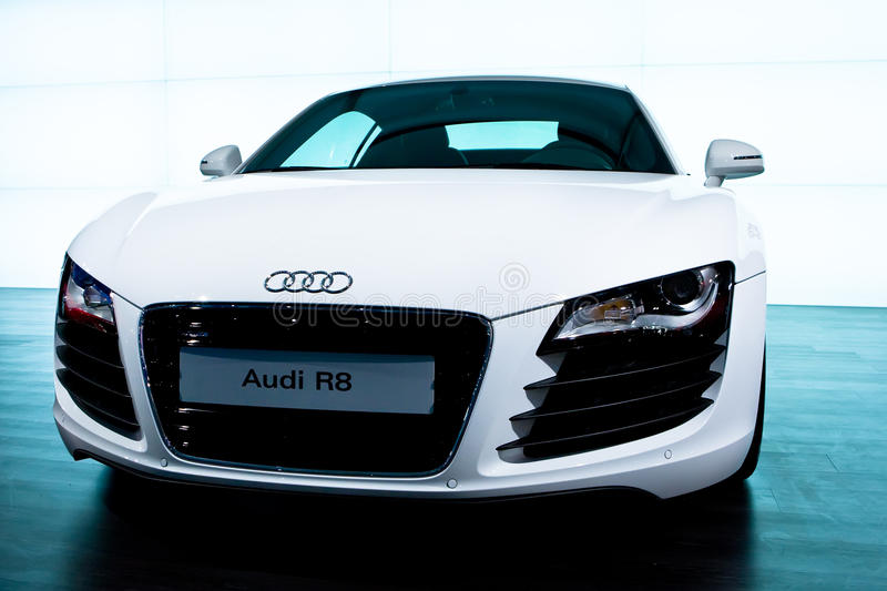 White sport car Audi R8. MOSCOW, RUSSIA - AUGUST 27: White sport car Audi R8 at Moscow International exhibition InterAuto on August 27, 2008 in Moscow, Russia stock photo