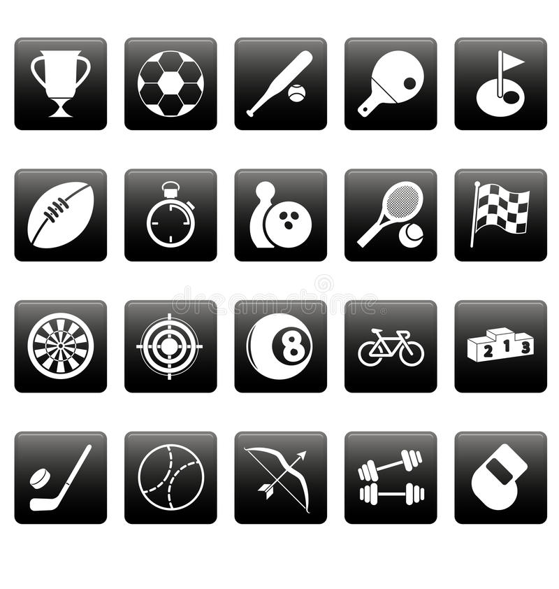 White Sport Icons On Black Squares Royalty Free Stock Photos